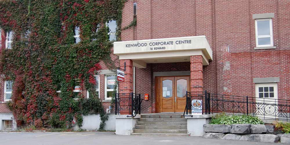 Main entrance of the Kenwood Corporate Centre in Arnprior, Ontario
